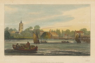 "Cooke: Fulham.1811. A hand coloured original antique copper engraving. 8"" x 5"". [LDNp9399]"