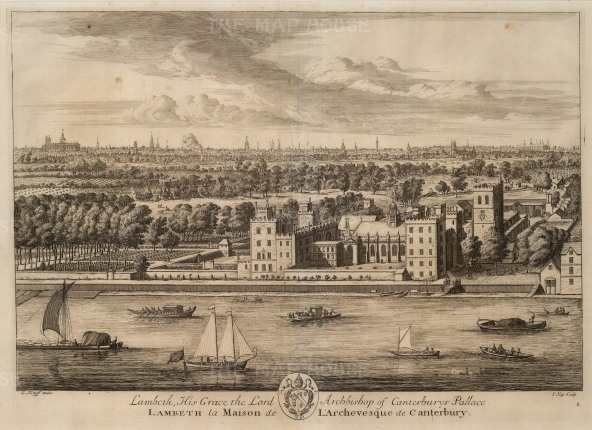 "Kip,:Lambeth Palace. 1715. An original antique copper engraving. 14"" x 19"". [LDNp9568]"