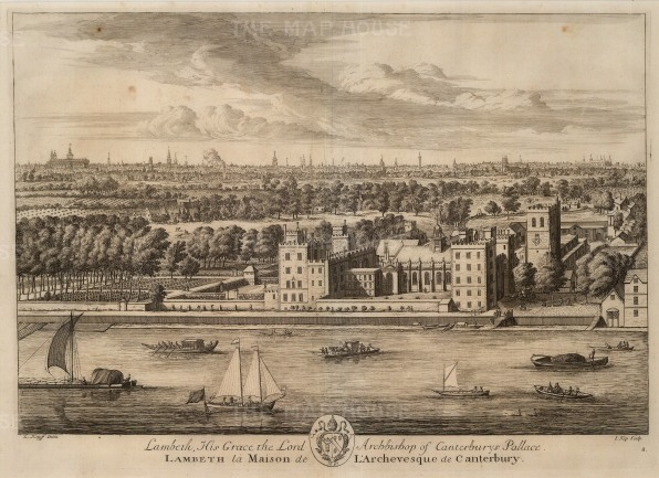 "Kip: Lambeth Palace. 1715. An original antique copper engraving. 14"" x 19"". [LDNp9568]"