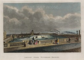 "Cooke:London from Waterloo Bridge. c.1820. A hand-coloured original antique steel-engraving. 7"" x 9. [LDNp9680]"
