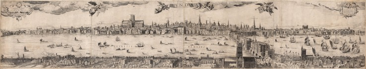 "Scolari: London. c.1670. A very rare original antique copper engraving. 16"" x 80"". Framed. [LDNp9750]"