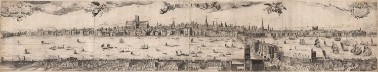 An extremely rare panorama of London before the Great Fire; based on Nicholas Visscher's view from 1616.