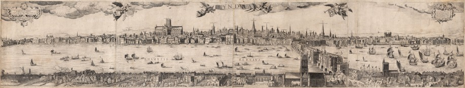 An extremely rare panorama in good condition of London before the Great Fire; based on Nicholas Visscher's view from 1616.