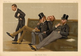 SOLD. The Fourth Party. New Conservatives. Lord Churchill, Earl of Balfour, Sir Drummond-Wolff and Sir JE Gorst by SPY.