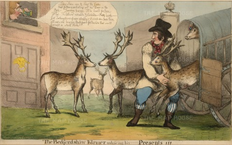 "Cruikshank, 'The Bedfordshire Farmer', 1800. An original colour etching. 9"" x 15"". £POA."