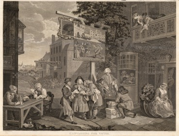 """William Hogarth, 'The Election', 2 of 4, c.1800. An original black and white copper-engraving. 15"""" x 22"""". £POA."""
