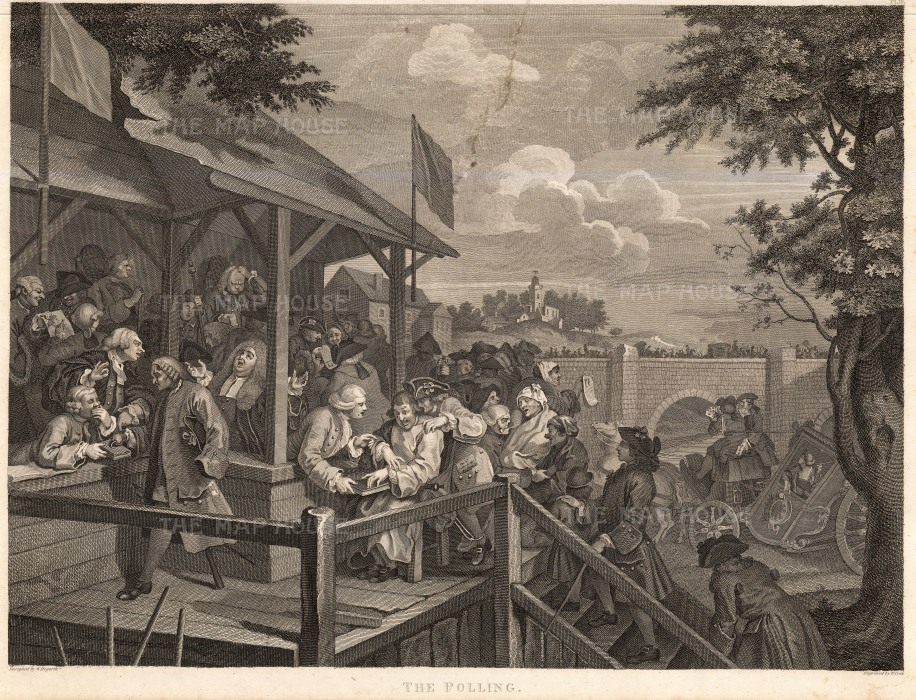 "William Hogarth, The Election, 4 of 4, c.1800. An original black and white copper engraving. 15"" x 22"". £POA."