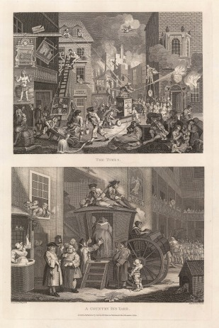 """William Hogarth, 'The Times' and 'A Country Inn Yard', two engravings on a single sheet, published in 1800. An original black and white copper-engraving. 12"""" x 19"""". £POA."""