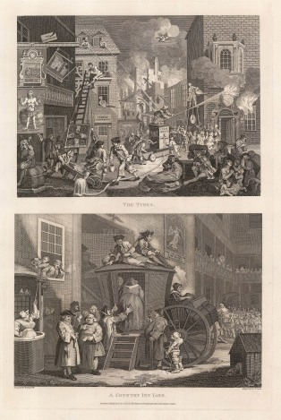 "William Hogarth, 'The Times' and 'A Country Inn Yard', two engravings on a single sheet, published in 1800. An original black and white copper-engraving. 12"" x 19"". £POA."