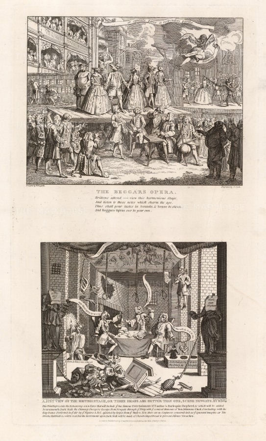 """William Hogarth, 'Beggar's Opera, A just View of the British Stage', two engravings. 1802. An original black and white copper engraving. 11"""" x 19"""". £POA."""