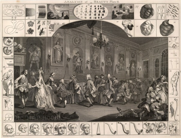 """William Hogarth, 'Analysis of Beauty', 1798. Plate II of II. Sold as a Pair. An original black and white copper-engraving. 16"""" x 20"""". £POA."""