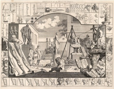 "William Hogarth, 'Analysis of Beauty', 1798. Plate I of II. Sold as a pair. An original black and white copper engraving. 16"" x 20"". £POA."