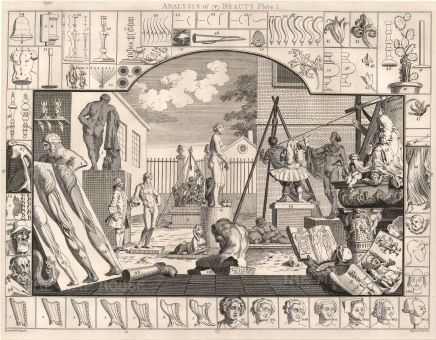 """William Hogarth, 'Analysis of Beauty', 1798. Plate I of II. Sold as a pair. An original black and white copper engraving. 16"""" x 20"""". £POA."""