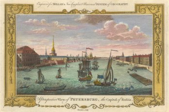 Millar: St. Petersburg. 1782. A hand coloured original antique copper engraving. 12″ x 8″. [RUSp764]