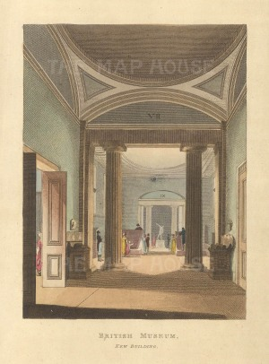"Papworth: British Museum, New Building. 1816. An original colour antique aquatint. 6"" x 8""."