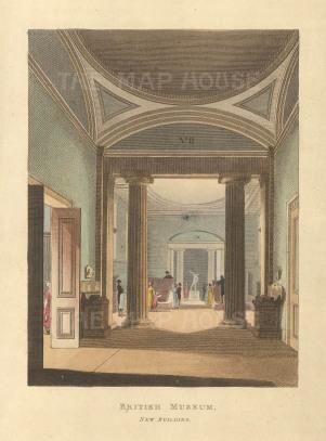 """Papworth: British Museum, New Building. 1816. An original colour antique aquatint. 6"""" x 8""""."""