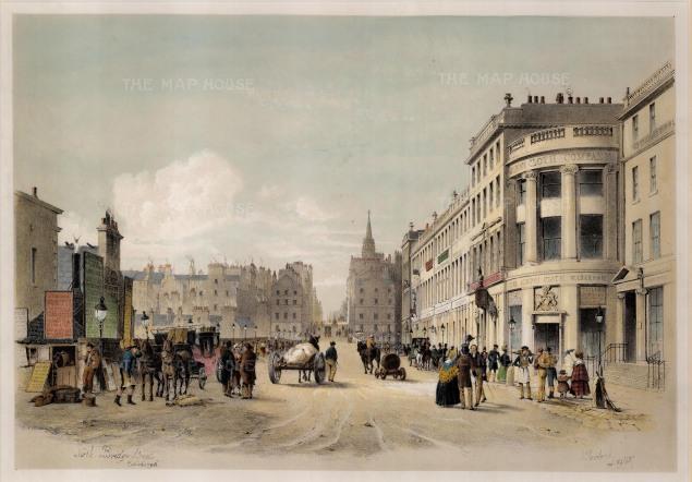 "Swarbreck: North Bridge Street, Edinburgh. 1837. A hand coloured original antique lithograph. 16"" x 12"". [SCOTp823]"