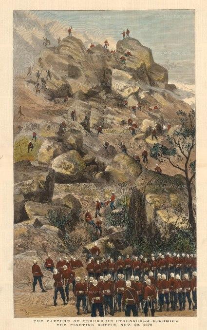 "Graphic Magazine: Anglo-Zulu War. 1880. A hand coloured original antique wood engraving. 14"" x 22"". [AFRp1328]"