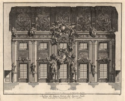 """Paulus Decker, Cross Section of a Central Hall, 1711. An original copper engraving. 15"""" x 18"""". £POA."""