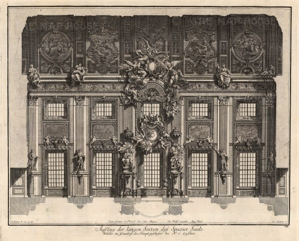 "Paulus Decker, Cross Section of a Central Hall, 1711. An original copper engraving. 15"" x 18"". £POA."