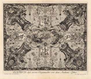 "Paulus Decker, Baroque Ceiling Decoration Depicting the Zodiac., 1711. An original copper engraving. 14"" x 18"". £POA."
