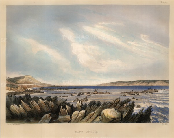 "George French Angas, 'Cape Jervis, view from the shore', 1846. An original colour lithograph. 12"" x 15"". £POA."