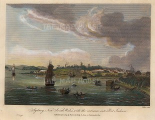 "Fittler, 'Sydney, New South Wales with the entrance into Port Jackson', 1809. A hand-coloured original copper-engraving. 9"" x 7"". £POA."