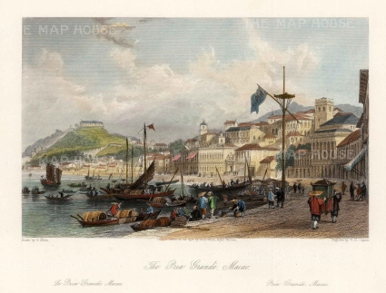"""Wright: Macao. 1847. A hand coloured original antique steel engraving. 8"""" x 7"""". [CHNp1086]"""