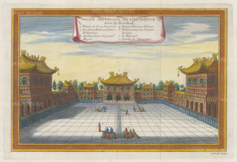 """Bellin: Imperial Hall of Audience, Beijing. 1748. A hand coloured original antique copper engraving. 13"""" x 8"""". [CHNp1132]"""