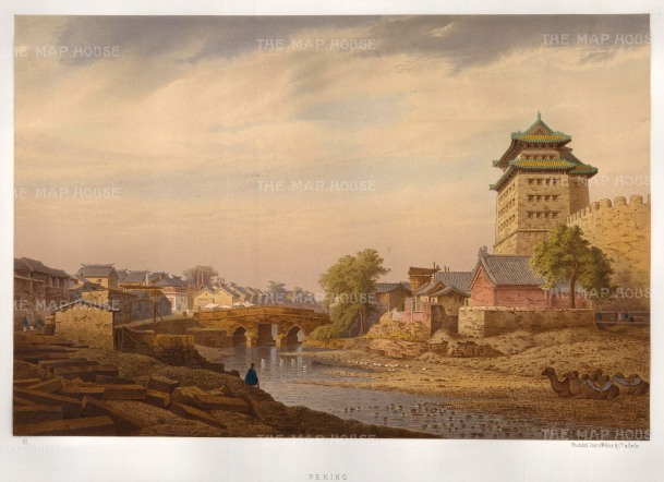 RARE: View in Peking (Beijing). Camels resting on the Grand Canal. Drawn from life during the diplomatic mission of Prince zu Eulanberg to China, Japan & Siam 1859-62.