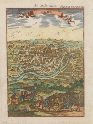 "Mallet: Cairo. 1719. A hand coloured original antique copper engraving. 5"" x 7"". [EGYp1067]"