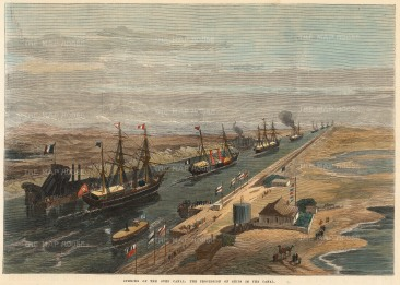 SOLD Suez Canal: Procession of ships celebrating the opening of the canal after 10 years of construction to link Eastern Asia and Europe.