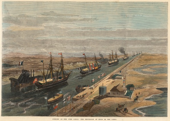 """Illustrated London News: Suez Canal. 1869. A hand coloured original antique wood engraving.14"""" x 10"""" {EGYp1117}"""