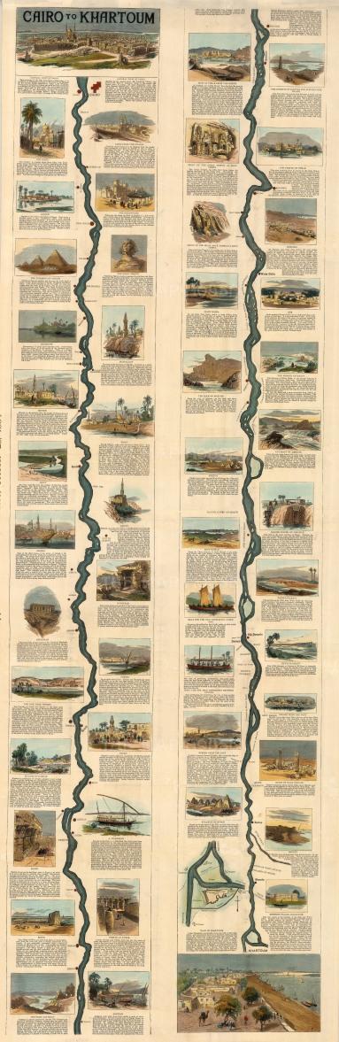 """Graphic Magazine: Cairo to Khartoum. 1884. A hand coloured original antique wood engraving. 15"""" x 48"""". [EGYp1124]"""