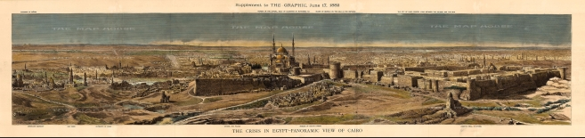 Cairo: Panoramic view from the pyramids of Giza to the citadel of Cairo with key. The Anglo-Egyptian War of 1882 ended with a British victory that expanded the Empire's control over Egypt.
