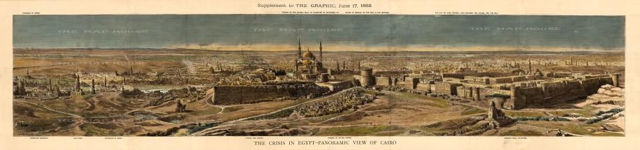 "The Graphic Magazine: Cairo. A hand-coloured original antique wood engraving. 50"" x 11"". [EGYp1126)]"