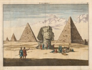"""Le Bruyn: The Sphynx. 1726. A hand coloured original antique copper engraving. 15"""" x 11"""" [EGYp1129]"""