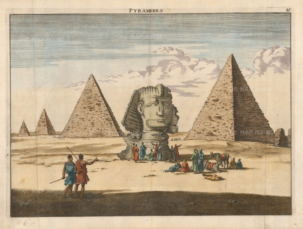 """Le Bruyn: The Sphynx 1726. A hand-coloured original antique copper engraving. 15"""" x 11"""" [EGYp1129]"""