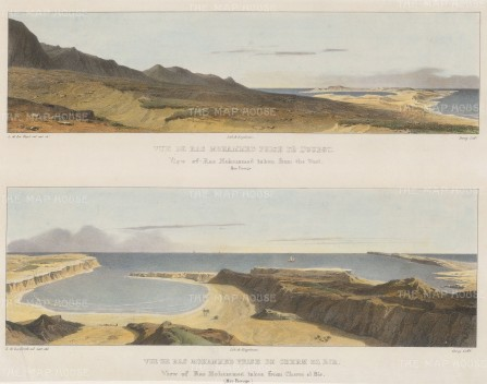 Ras Mohammed: Double panorama of the inlet on the Red Sea. From the west and from Cherm El Bir.