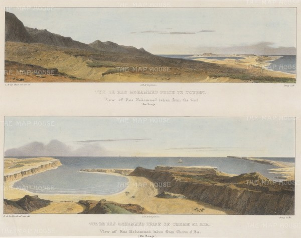 """Laborde: Ras Mohammed. Double panorama. 1839. A hand coloured original antique lithograph. 18"""" x 15"""". [EGYp1131]"""