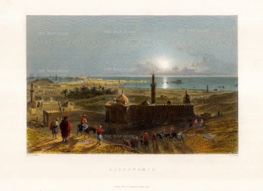 "Bartlett: Alexandria. 1838. A hand coloured original antique steel engraving. 9""x 7"". [EGYp1141]"
