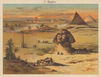 Sphynx, Obelisk, and Pyramids.