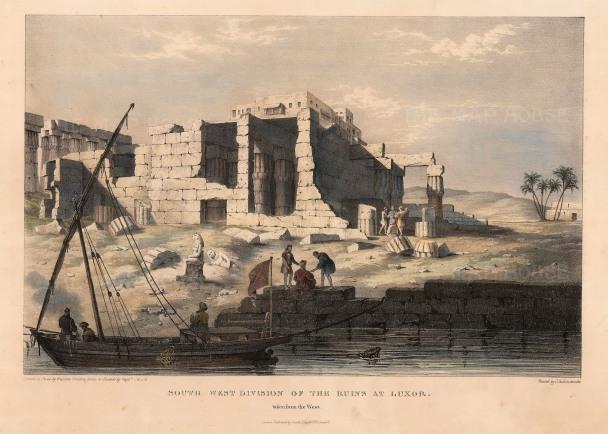 Capt. Head: Luxor. 1833. An original colour antique lithograph. 11 x 16 inches. [EGYp379]