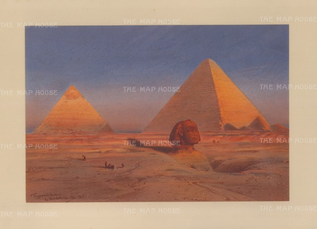Sphinx (Abu al Haul): With the Pyramids of Cheops (Khufu) and Chephren (Khafre): Drawn from life during Hildebrandt's 'round-the-world' voyage.