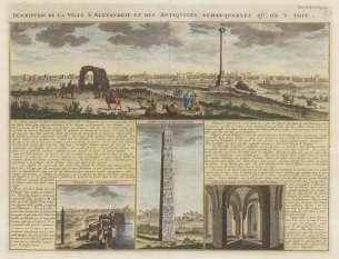 Alexandria: Panorama of the city with vignettes of Cleopatra's Palace, Alexander's obelisque and the tower interior with text in French.