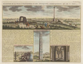 Alexandria: Panorama of the city with vignettes of Cleopatra's Palace, Alexander's obelisque and the tower interior with explanatory text in French.