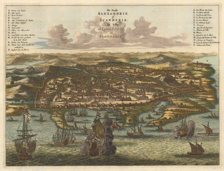 Alexandria: Panorama of the City and Port with key in Dutch and French After the 1665 view by Arnoldus Montanus.