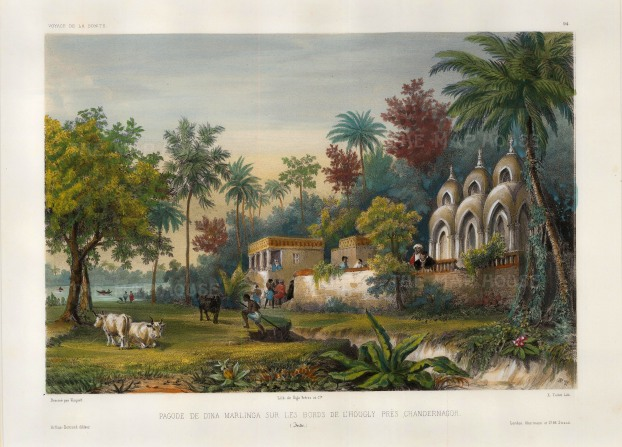 Hooghly River, Calcutta: View of the Dina Marlinga temple on the banks of the river near Chandannagar. After Theodore-Auguste Fisquet, artist on the voyage of La Bonite 1836-7.