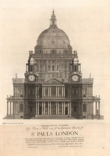 "Thomas Bowles, 'St Paul's Cathedral - Prospect of the West-End', 1732. An original black and white copper-engraving. 18"" x 27""."