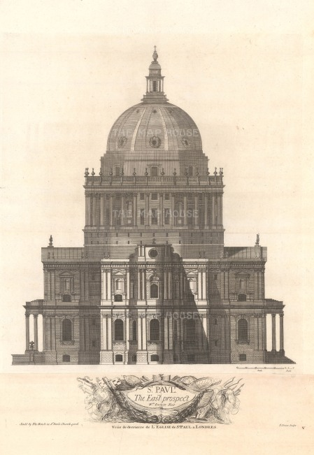 "Thomas Bowles, 'St. Paul's Cathedral - Prospect of the East End', 1732. An original black and white copper-engraving. 18"" x 27""."
